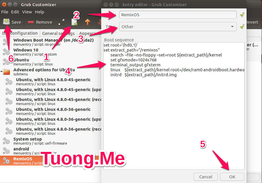 Hướng dẫn cài đặt Remix OS, Android x86 chạy song song với Ubuntu